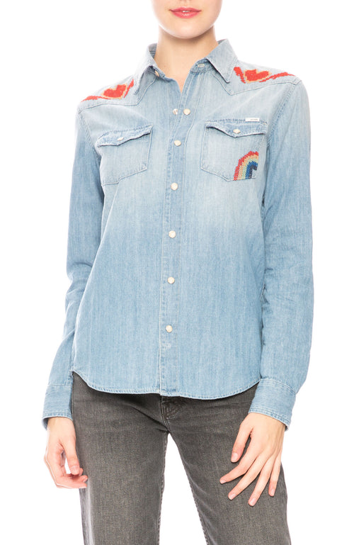 Mother All My Ex's Embroidered Denim Shirt at Ron Herman