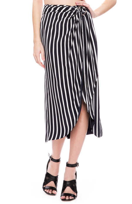 Multimedia Stripe Wrap Skirt