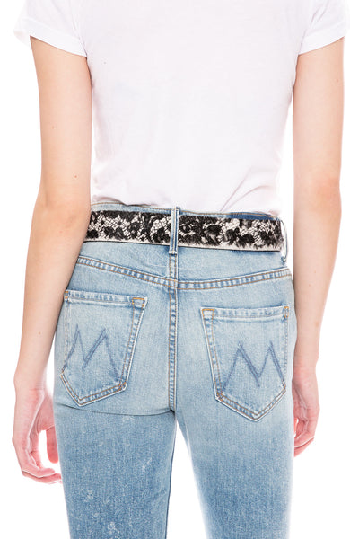 W. Kleinberg Lace Print Calf Hair Belt with Silver Buckle at Ron Herman