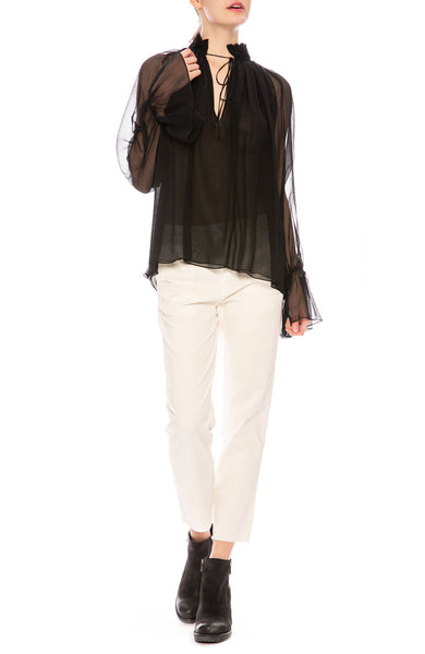 Nili Lotan Arizona Silk Top in Black at Ron Herman
