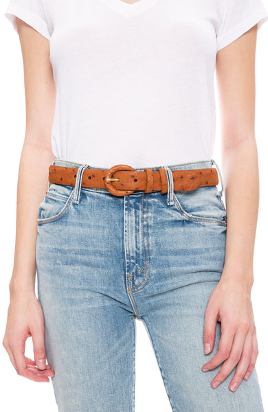 W. Kleinberg Ostrich Covered Belt in Brandy at Ron Herman