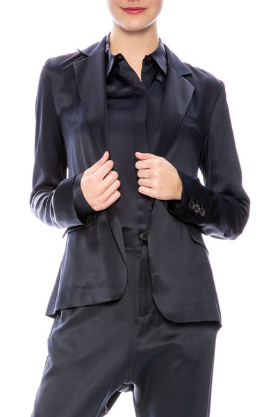 Nili Lotan Mireu Silk Blazer in Dark Navy at Ron Herman