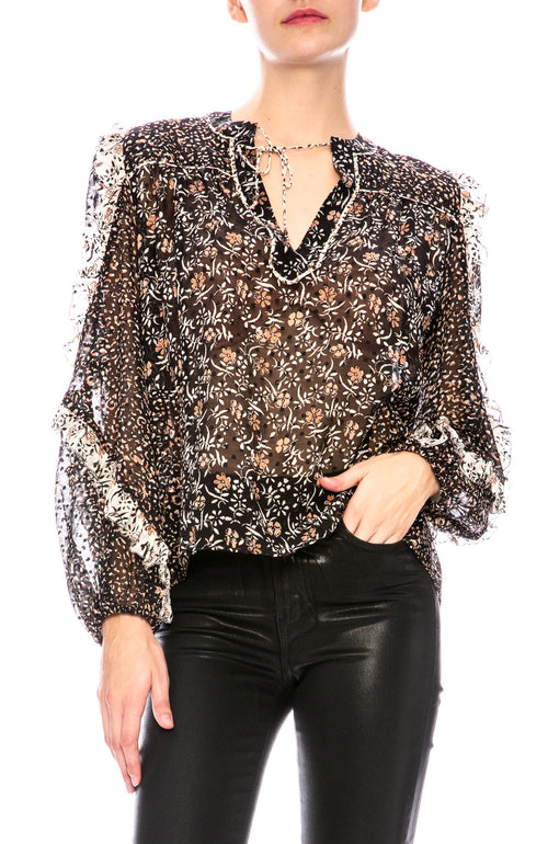 Ulla Johnson Norma Blouse in Noir Print at Ron Herman