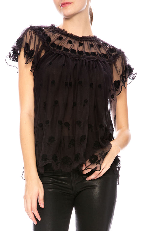 Ulla Johnson Bisou Tulle Blouse at Ron Herman