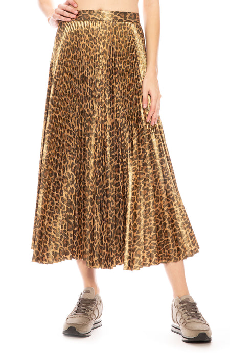 Bobby Leopard Metallic Pleated Skirt