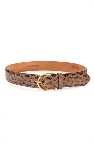 W. Kleinberg Anaconda Belt with Gold Buckle in Mink at Ron Herman