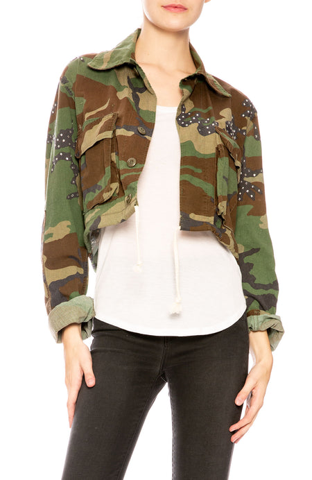 Janet Studded Cropped Camo Jacket