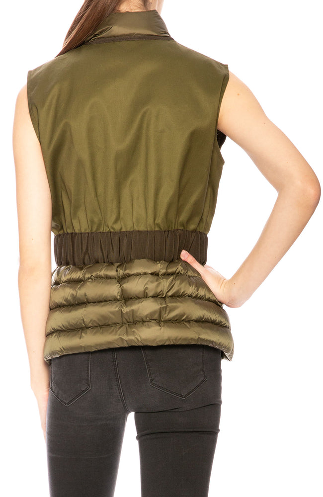 Moncler Womens Beryl Semi-Fit Mixed-Media Vest in Olive at Ron Herman