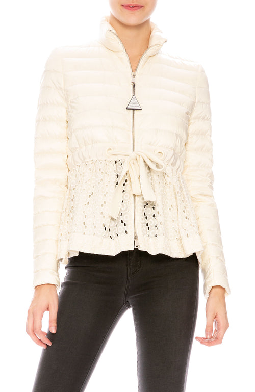 Moncler Serpentine Mixed Media Self-Tie Jacket in White at Ron Herman