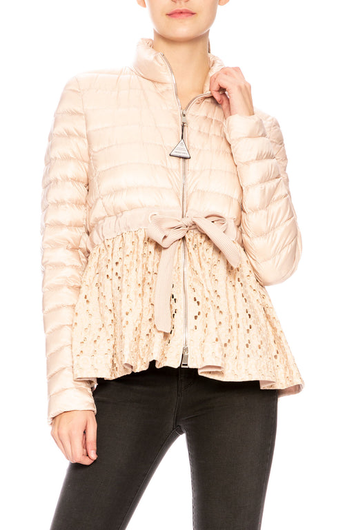 Moncler Serpentine Mixed Media Self-Tie Jacket in Blush at Ron Herman