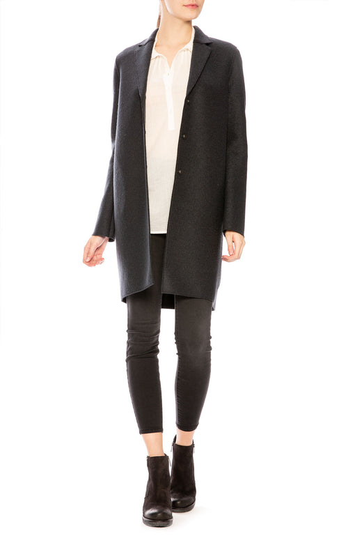 Harris Wharf Pressed Wool Cocoon Coat in Gun Metal at Ron Herman