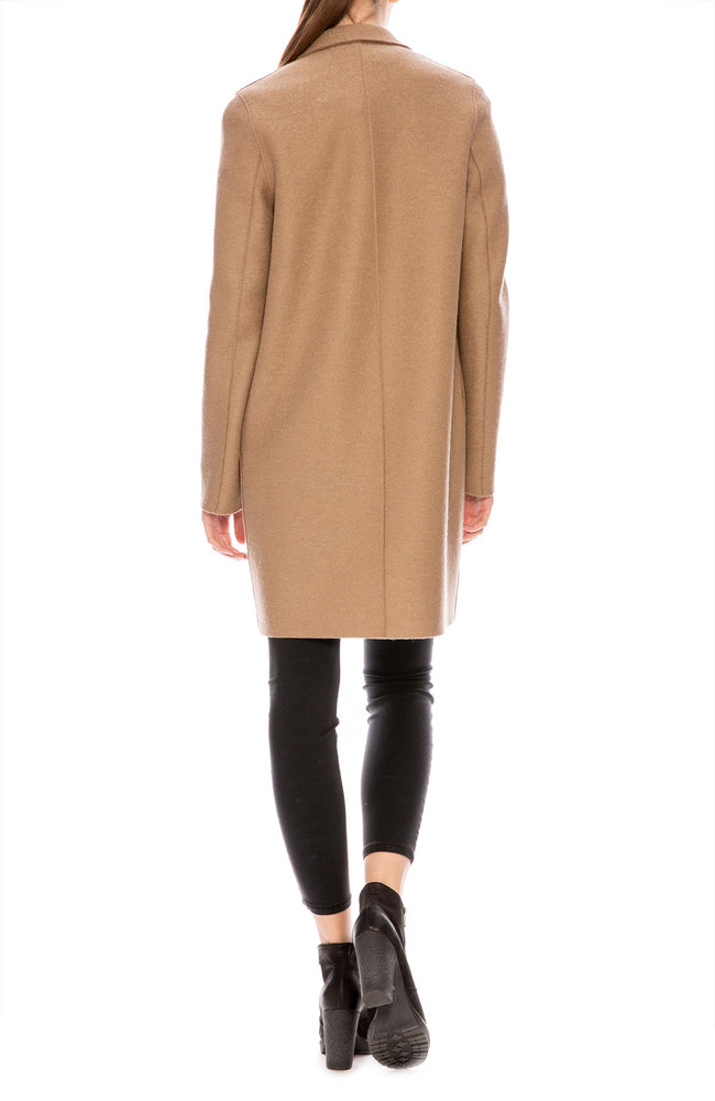 Harris Wharf Pressed Wool Cocoon Coat in Camel at Ron Herman