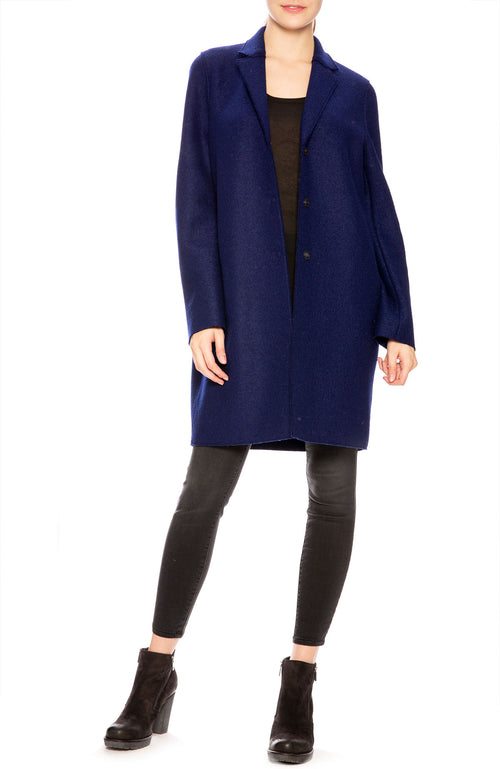 Harris Wharf Pressed Wool Cocoon Coat in Ink at Ron Herman