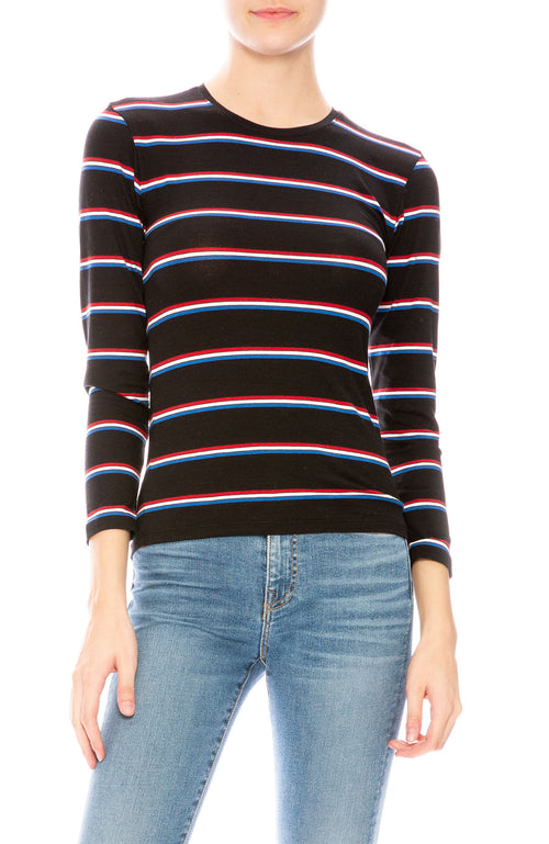 ATM Striped 3/4 Sleeve Baby Tee at Ron Herman
