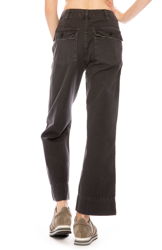 AMO Army Wide Leg Pant in Washed Black at Ron Herman