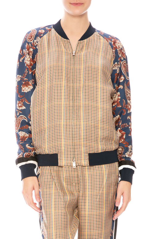 3.1 Phillip Lim Checkered Floral Bomber Jacket at Ron Herman