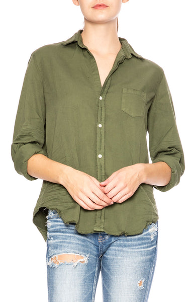 Frank & Eileen Eileen Stonewashed Indigo Shirt in Army Green