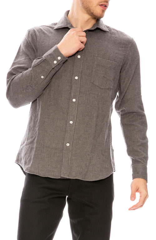 Hartford Paul Flannel Shirt in Grey Double Face at Ron Herman