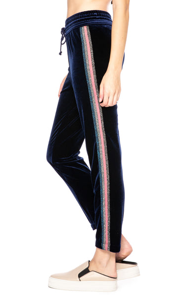 Mother Velvet Lurex Stripe Track Pants in Navy at Ron Herman