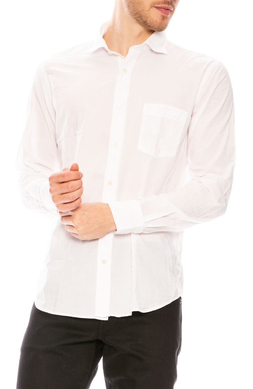 Hartford Woven Voile Button Down Shirt in White at Ron Herman