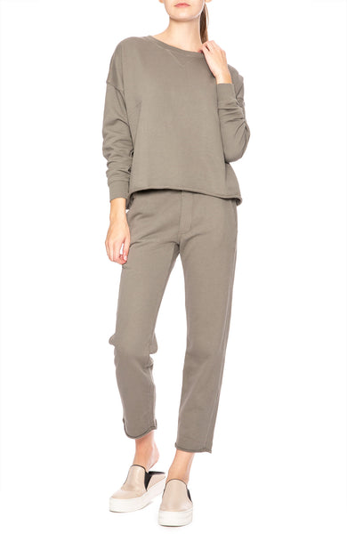 AMO Straight Leg Sweatpants in Grey Green at Ron Herman