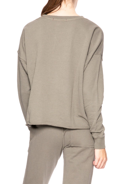AMO Cut Off Sweatshirt in Grey Green at Ron Herman