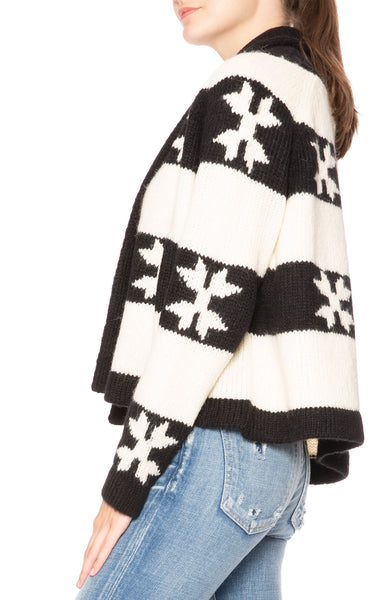 The Great Star Flower Cardigan in Cream / Black at Ron Herman