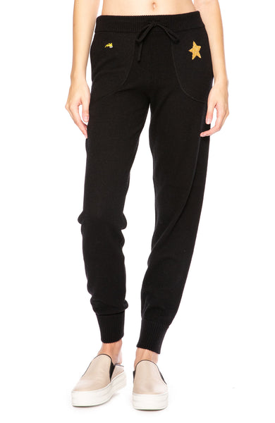 Bella Freud Star Spangled Cashmere Sweatpants in Black at Ron Herman