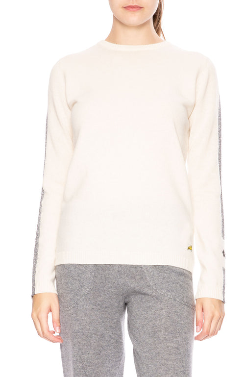 Bella Freud Britt Metallic Stripe Cashmere Sweater in Ivory at Ron Herman