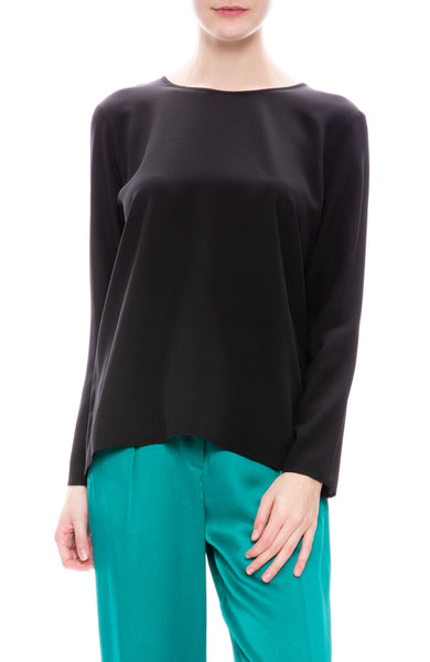 Forte Forte Crepe de Chines Shirt in Nero Black