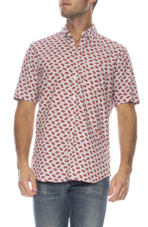 Exclusive Grid with Lips Short Sleeve Shirt