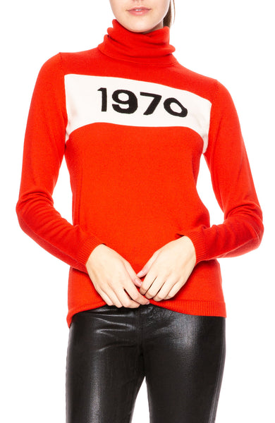 Bella Freud 1970 Turtle Neck Sweater in Red at Ron Herman