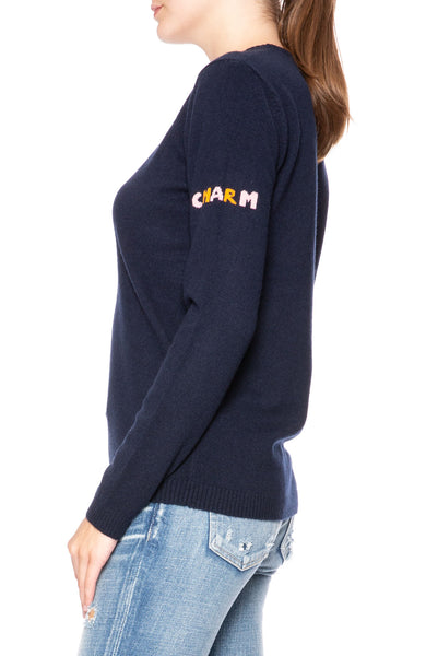 Bella Freud Rainbow Horseshoe Sweater in Navy at Ron Herman