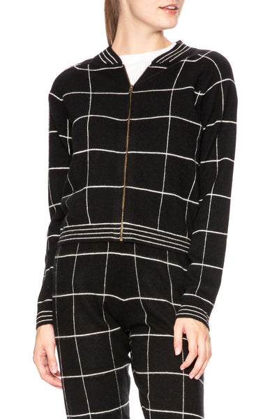 Madeleine Thompson Jedha Checked Cashmere Cardigan at Ron Herman