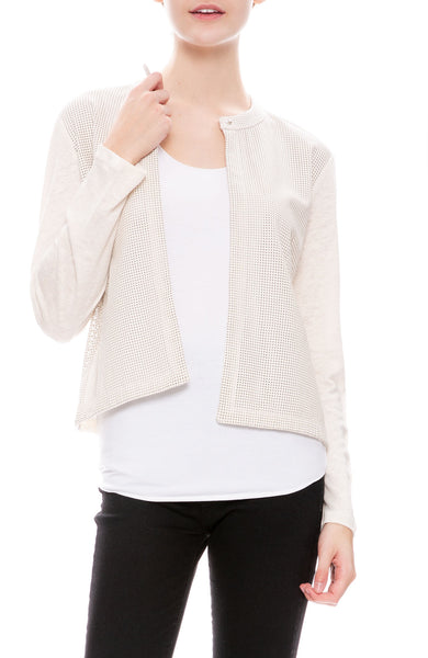 Majestic Filatures Linen and Leather Perforated Jacket in Blanc