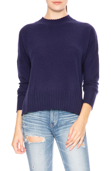 Ron Herman Exclusive Mock Neck Cashmere Sweater in Marina Blue