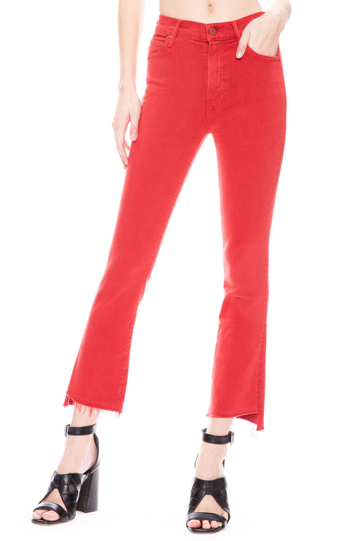 Mother Insider Crop Step Fray in Hot Rod Red at Ron Herman