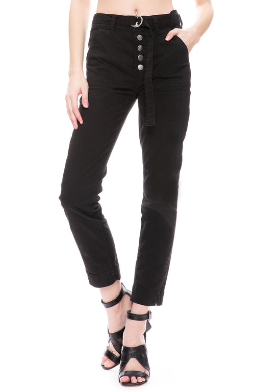 J Brand Kyrah High-Rise Cropped Trouser Jean In Black at Ron Herman