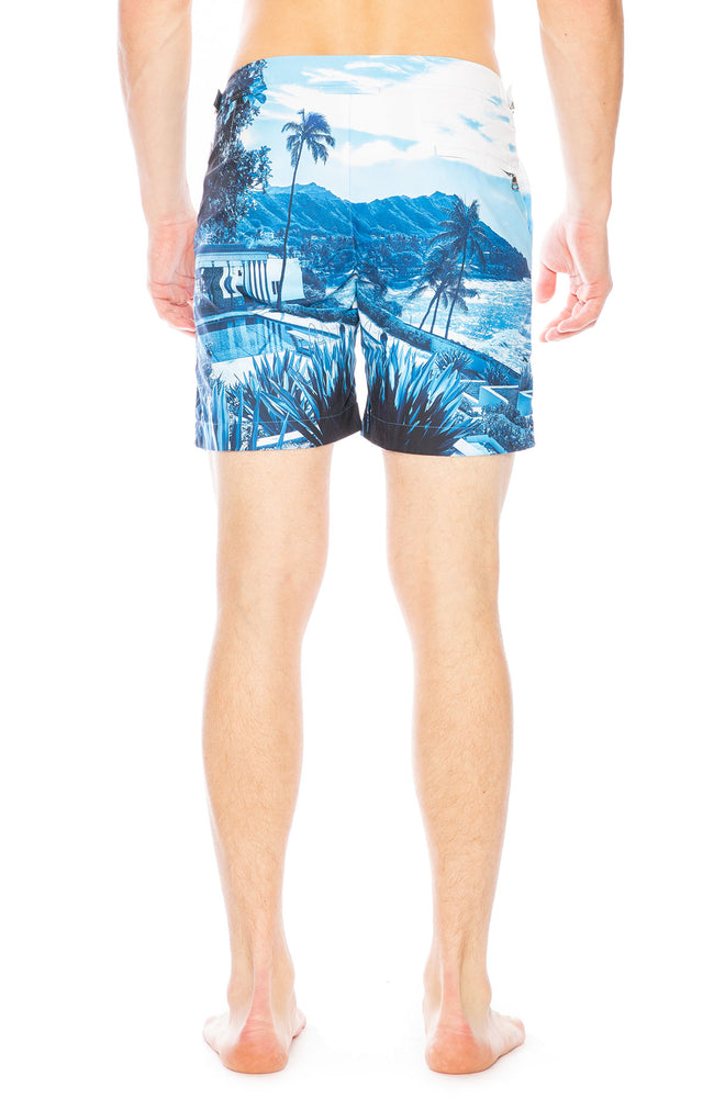 Bulldog Swim Short in Photographic Blue View