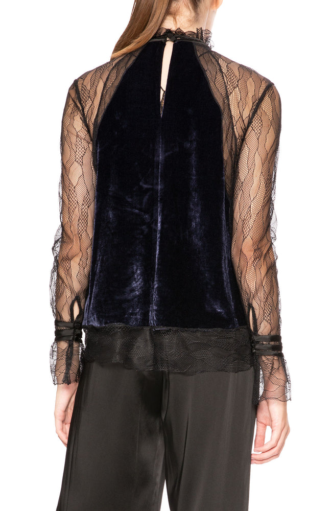 Jonathan Simkhai Velvet Lace Combo Top at Ron Herman
