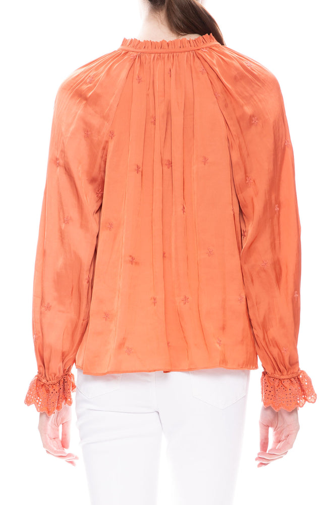 Ulla Johnson Irene Blouse in Coral at Ron Herman