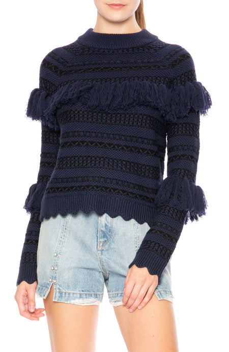 Wool Tassel Knit Sweater