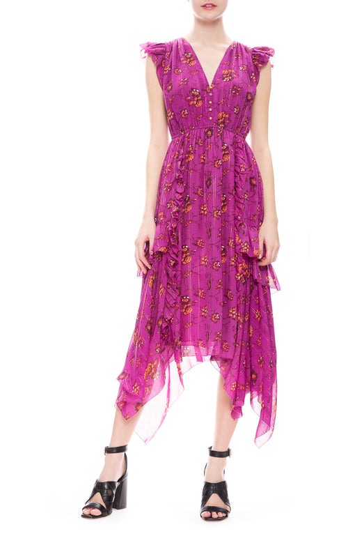 Ulla Johnson Ciel Floral Silk Dress in Magenta at Ron Herman
