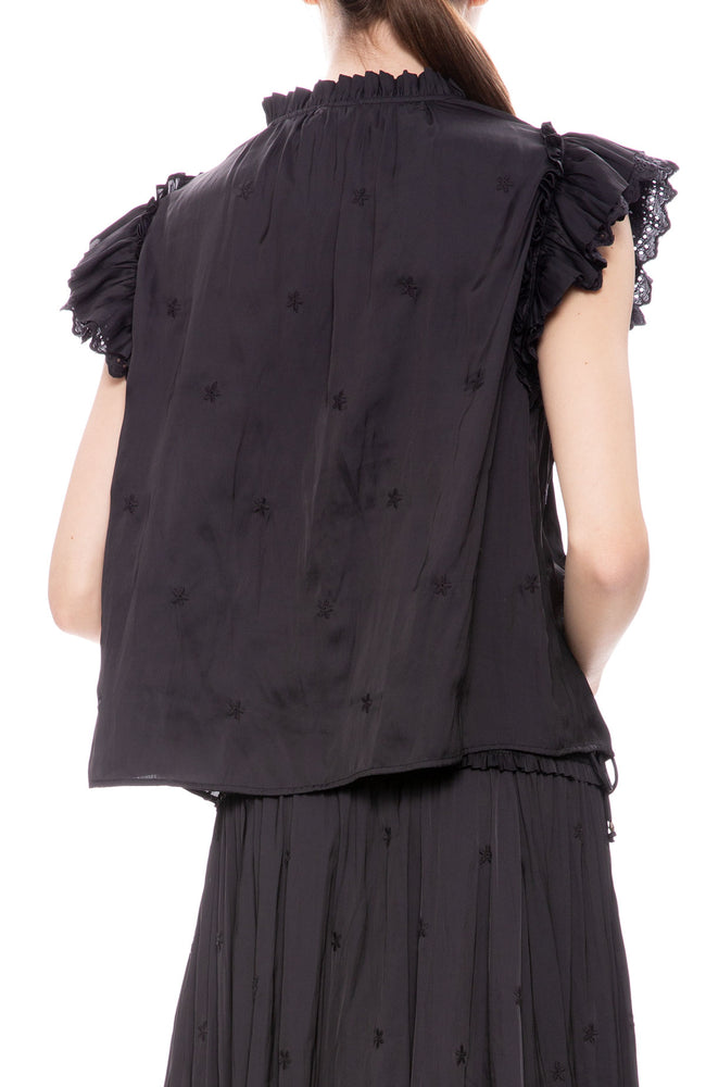 Ulla Johnson Myra Top in Noir at Ron Herman