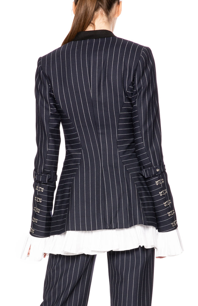 Jonathan Simkhai Pinstripe Blazer with Ruffle Trim at Ron Herman