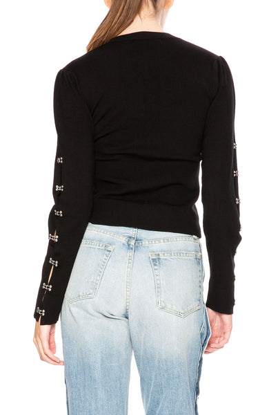 Jonathan Simkhai Ribbed Wool Puff-Sleeve Eyelet Sweater at Ron Herman