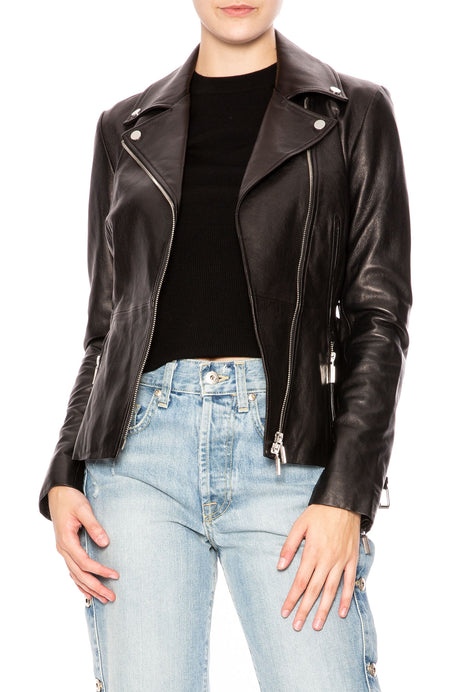 Belted Leather Biker Jacket