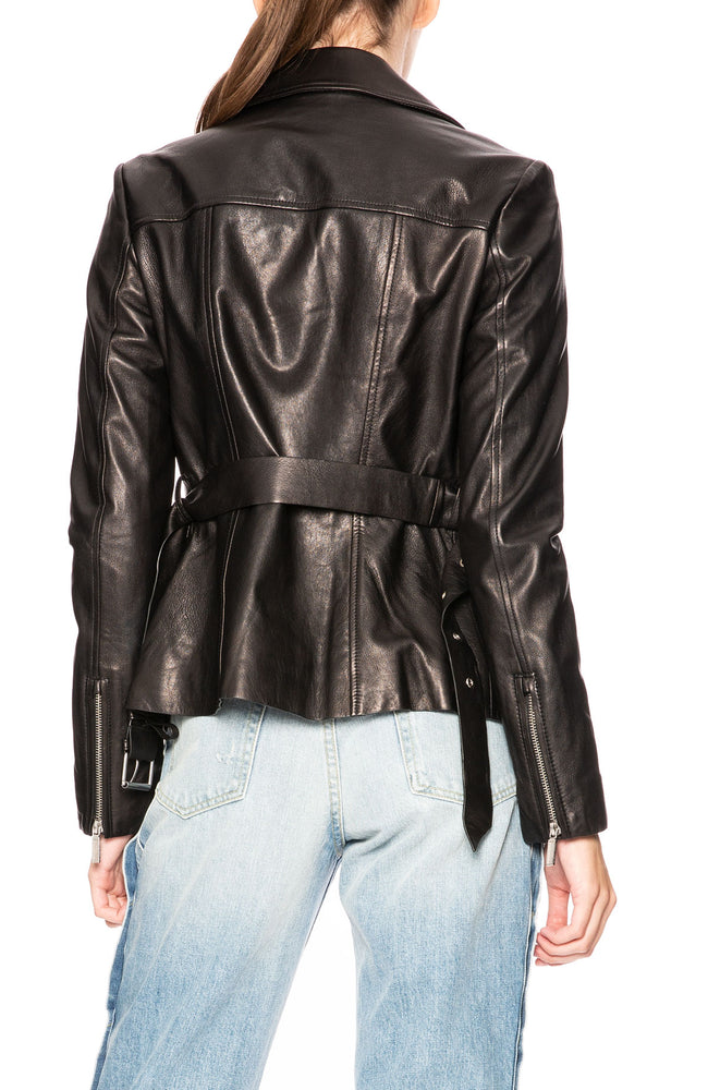 Jonathan Simkhai Belted Leather Biker Jacket at Ron Herman