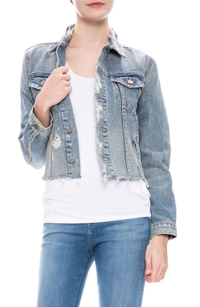 GRLFRND Cara Denim Jacket in Mary Jane Light Wash