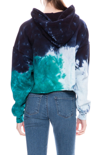 Re/Done Cropped Raw Tie-Dye Hoodie at Ron Herman